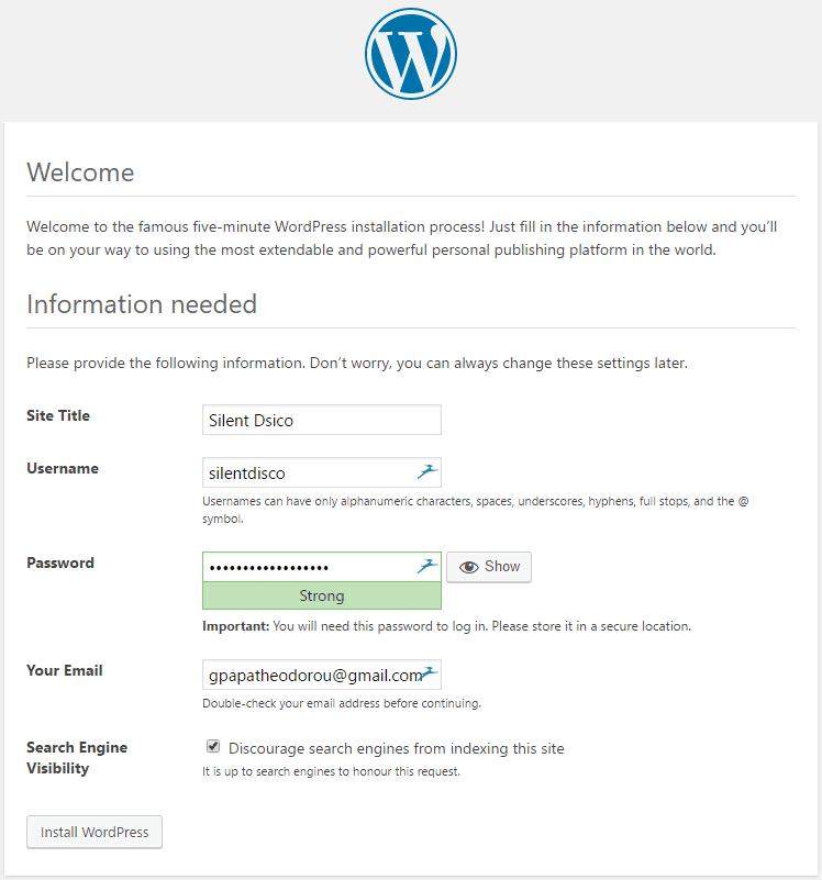 Τελικό Στάδιο Εγκατάστασης WordPress
