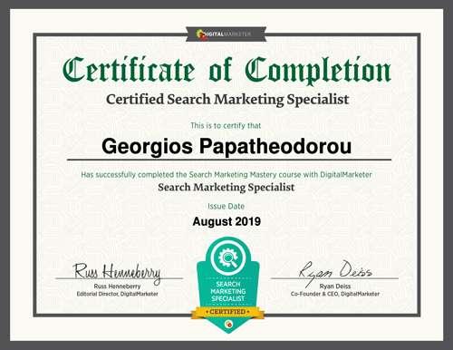 Certified Search Marketing Specialist - George Papatheodorou