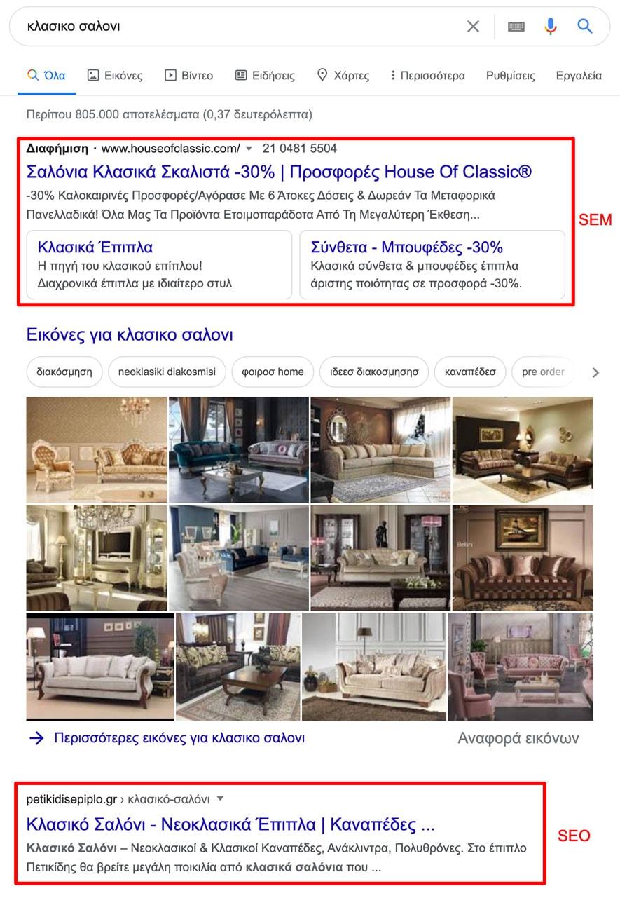 Παράδειγμα SEM (Search Engine Marketing)