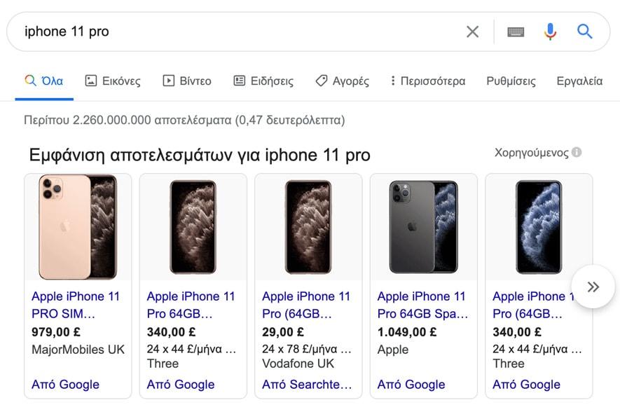 Παράδειγμα Product Shopping Ads